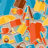 Seamless pattern with promotional gifts and Royalty Free Stock Images