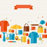 Seamless pattern with promotional gifts and Royalty Free Stock Photo