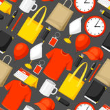Seamless pattern with promotional gifts and souvenirs.  Stock Photography