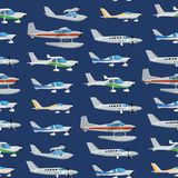 Seamless pattern with propeller airplanes. Private turbo propeller aircraft, passenger plane, hydroplane, speedy aeroplane, flying boat. Side view screw Stock Photo