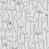 Seamless pattern with Psilocybin or hallucinogenic magic mushrooms Stock Photo