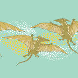 Seamless pattern with Pterodactyl or wing lizard from suborders of pterosaurs on the green background. Series of prehistoric dinosaurs. Background with fossil Royalty Free Stock Image