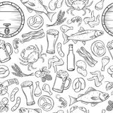 Seamless pattern pub food and beer. Vector alcohol and snacks background with crab, lobster, shrimp, fish, chicken wings and legs, pretzel and nachos for craft Royalty Free Stock Image