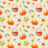 Seamless pattern of a pumpkin, floral, basket, berries,maple,boletus, apple and pear. stock illustration