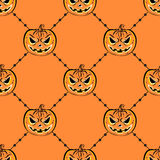 Seamless pattern with a pumpkin. Halloween Party design template Stock Photography