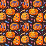 Seamless pattern with pumpkin lanterns, lollipop and candy. Seamless pattern with pumpkin lanterns, lollipop and candy .watercolor hand drawn illustration.dark Stock Photos
