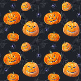 Seamless pattern with pumpkin lanterns, web and spider . Watercolor hand drawn illustration.black background Royalty Free Stock Photography