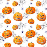 Seamless pattern with pumpkin lanterns, web and spider . Watercolor hand drawn illustration.white background Stock Photography
