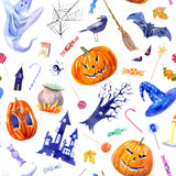 Seamless pattern with pumpkin,lollipop,castle,bat,spider,broom,candle,tree,crow and candy. Royalty Free Stock Photo