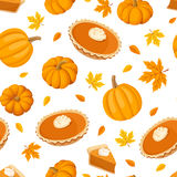 Seamless pattern with pumpkin pies and pumpkins. Vector illustration. Vector seamless pattern with pumpkin pies, pumpkins and autumn leaves on a white Stock Images