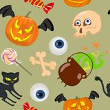 Seamless pattern with pumpkin, skull, candy, cat, pot. Vector illustration. Seamless vector with bright pumpkins, black cat, skull and eyes, candy for a merry Stock Photos