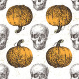 Seamless pattern with pumpkin and skull Stock Image