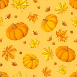 Seamless pattern with pumpkins and autumn leaves. Stock Image