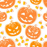 Seamless pattern with a pumpkins and candies. Halloween Party design template. Vector Royalty Free Stock Images