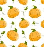 Seamless Pattern Pumpkins Green Leaves Stock Photo