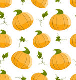 Seamless Pattern Pumpkins Green Leaves Stock Photo