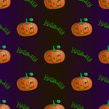 Seamless pattern of pumpkins and Halloween labels vector illustration