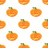 Halloween Pattern with pumpkins and faces. Seamless pattern of pumpkins for the holiday of Halloween from simple shapes and contours Stock Image