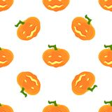 Halloween Pattern with pumpkins and faces. Seamless pattern of pumpkins for the holiday of Halloween from simple shapes and contours Royalty Free Stock Photography