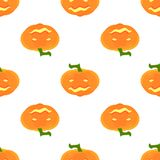 Halloween Pattern with pumpkins and faces. Seamless pattern of pumpkins for the holiday of Halloween from simple shapes and contours Royalty Free Stock Photos