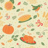 Seamless pattern with pumpkins, leaves, wheat and Royalty Free Stock Photography