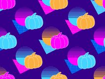Seamless pattern with pumpkins. Retro background 1980s style. Retrowave. Vector. Illustration royalty free illustration