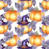 Seamless pattern with pumpkins 8. Seamless pattern with pumpkins. Watercolor background Royalty Free Stock Image