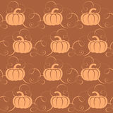 Seamless pattern with pumpkins and swirls. Pumpkins for Halloween party. Vector pumpkin for the web, for a card or for scrapbooking Royalty Free Stock Photos