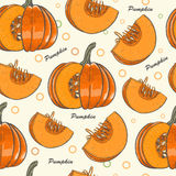 Seamless pattern with pumpkins for Thanksgiving Day Stock Photo