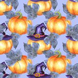 Seamless pattern with pumpkins 7. Seamless pattern with pumpkins. Watercolor background Stock Photos