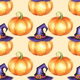 Seamless pattern with pumpkins 2. Seamless pattern with pumpkins. Watercolor background Royalty Free Stock Photos