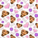 Seamless pattern puppy love royalty free illustration