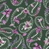 Watercolor basil pattern. Seamless pattern with purple basil leaves and branches. Loose watercolor style.  Pale paisley, dark green background royalty free stock photo