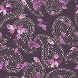 Basil and paisley pattern. Seamless pattern with purple basil leaves and branches. Loose watercolor style. Pale paisley, violet background stock photo