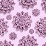 Seamless pattern with purple 3d paper flowers. Beautiful trendy nature background seamless pattern with ornate purple, violet summer 3d flower dahlia cutting vector illustration