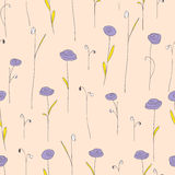 Seamless pattern with purple flowers. Creamy background with stylized doodle roses. Royalty Free Stock Photography