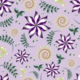 Seamless pattern of a purple flowers with green and yellow leafs and branches background elements vector illustration