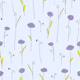 Seamless pattern with purple flowers. Lilac background with stylized doodle roses. Royalty Free Stock Photography