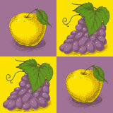 Seamless Pattern with Purple Grapes and Yellow Apples Stock Image