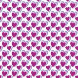 Seamless pattern of purple heart figures on a white background for fabrics, wallpapers, tablecloths, prints and designs. vector illustration