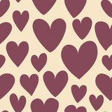Seamless pattern of purple hearts. Illustration of cute valentines heart on beige in vector Stock Photography