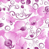 Seamless pattern of purple orchids Stock Photo