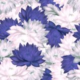 Seamless pattern with purple and pink water lilies stock photo