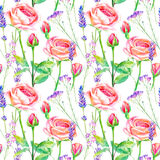 Seamless pattern of a purple roses,bluebell and lavender. Stock Image