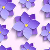 Seamless pattern with purple summer flowers violets Royalty Free Stock Photo