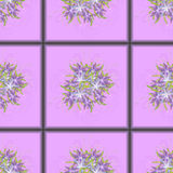 Seamless pattern of purple tiles with a bouquet of purple lilies in the centre. Vector illustration Royalty Free Stock Photos