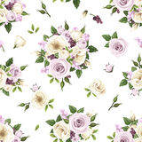 Seamless pattern with purple and white roses and lisianthus flowers. Vector illustration. Stock Image