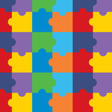 Vector seamless pattern with colorful puzzle. Repeating modern background Royalty Free Stock Images
