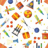 Seamless pattern with pyrotechnic tools. Vector pattern firecracker and skyrocket, bomb and dynamite illustration Stock Images
