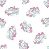 Seamless pattern with quad roller skates on white background. Retro laced boots, colorful vector background. vector illustration